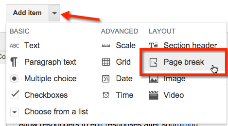 Google Forms add a page break