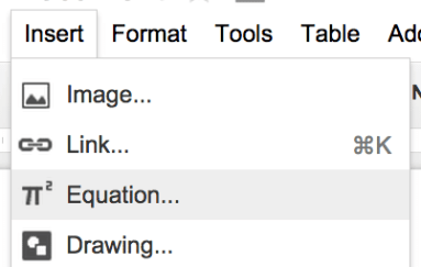 Equation Editor Google Docs