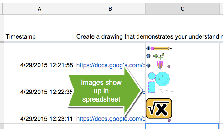 Show images in a spreadsheet
