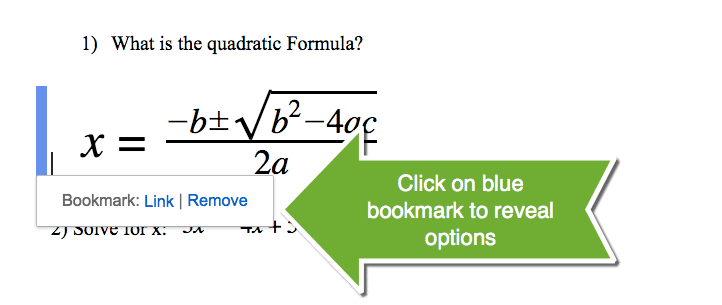 Blue bookmark link in a google doc