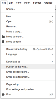 File Publish to the Web