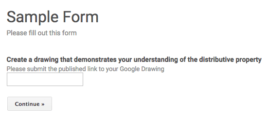 Submit a google form published link