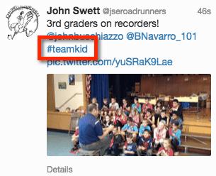 Using hashtag team kid