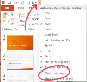 More commands quick access toolbar