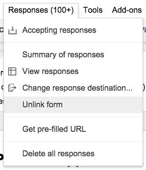 Google Forms Unlink Form