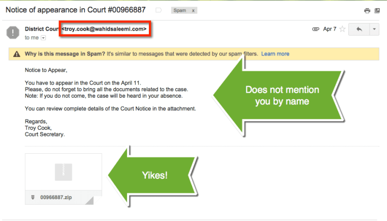 court secretary spam