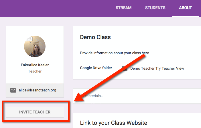 Invite teacher in Google Classroom
