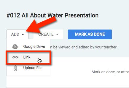 google classroom add link