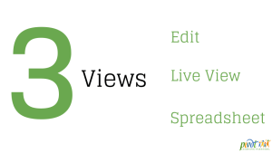 3 views in Google Forms: edit, live view and spreadsheet view