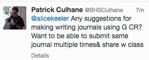 Writing Journal Google Classroom request tweet