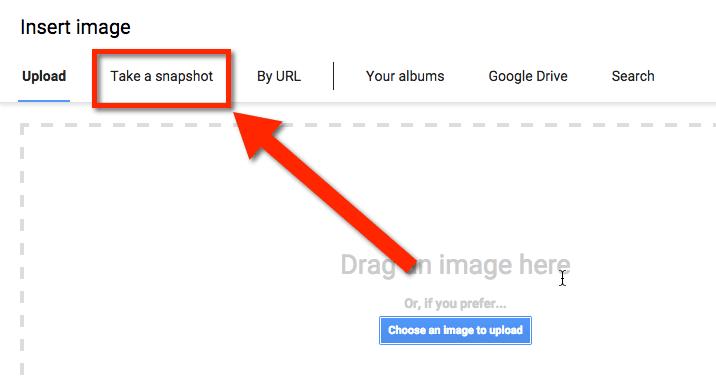 Google Docs add image by snapshot