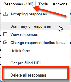 Google forms delete all responses