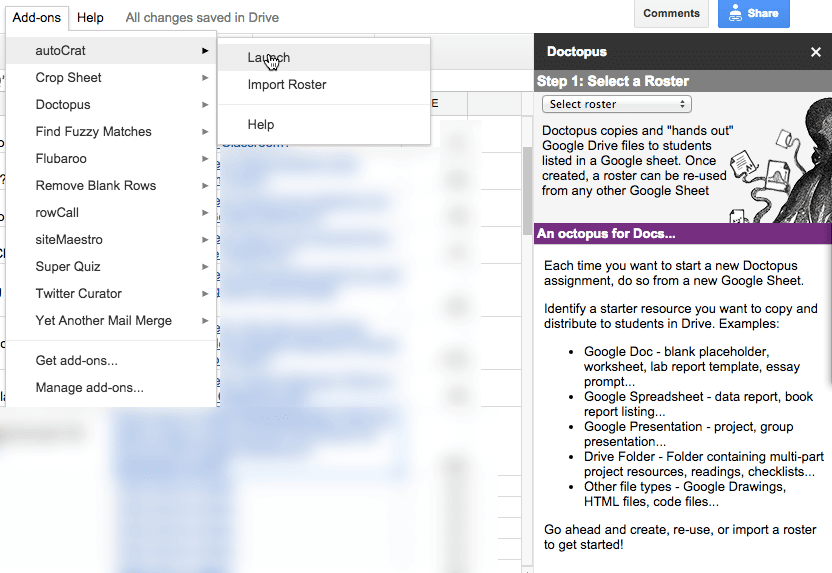 Autocrat Add On for Google Sheets