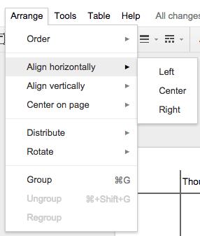 Align Horizontally under arrange menu