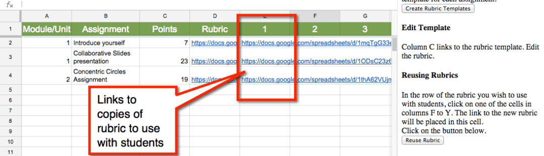 Create links to rubrics