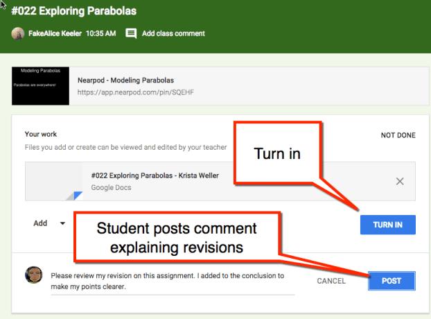 Google Classroom revisions