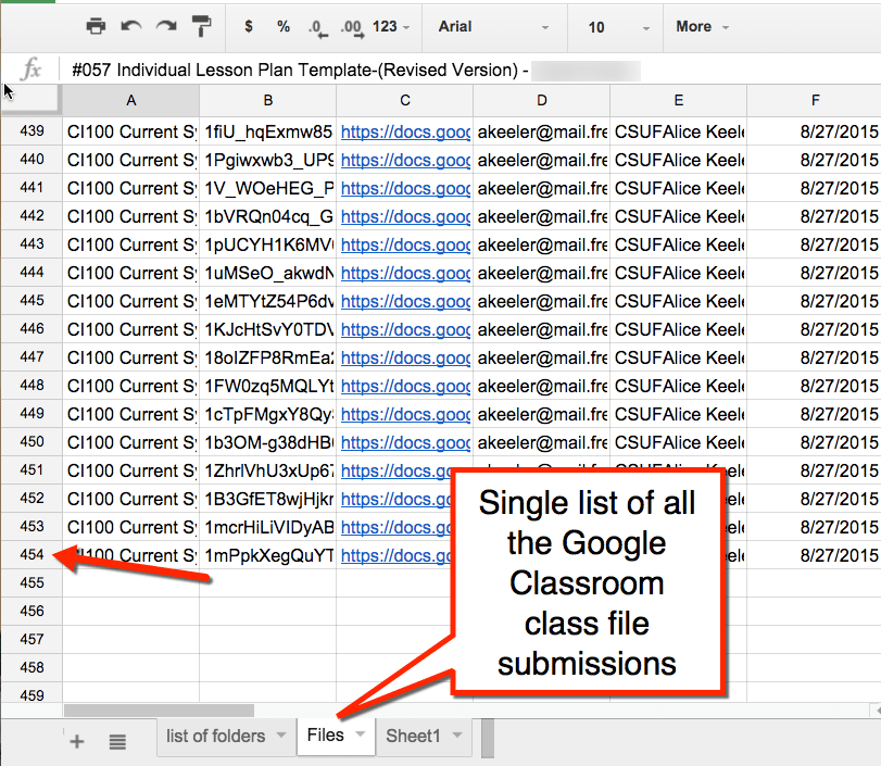 Google Classroom List All the files alice keeler