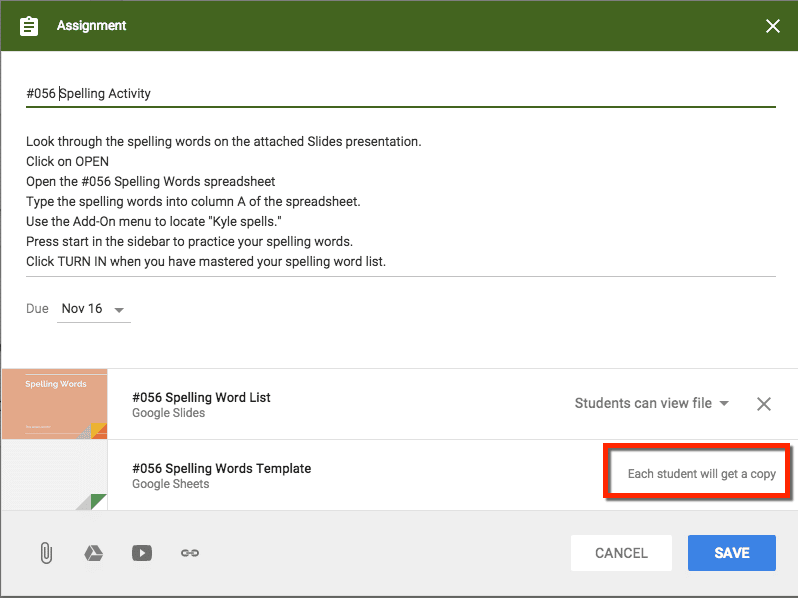 google classroom each student will get a copy