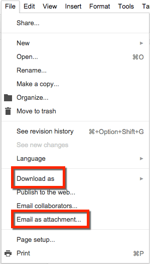 Google docs file menu download as email as attachment