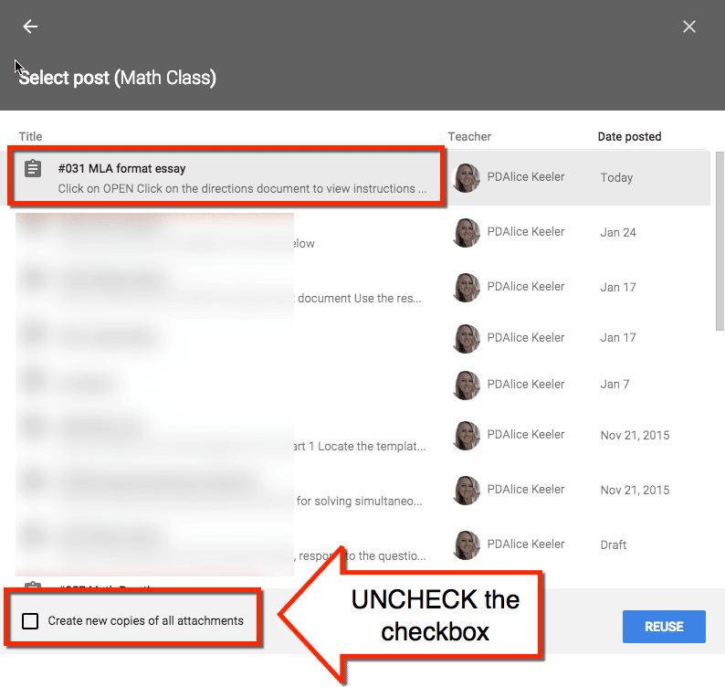 Uncheck the create copies checkbox