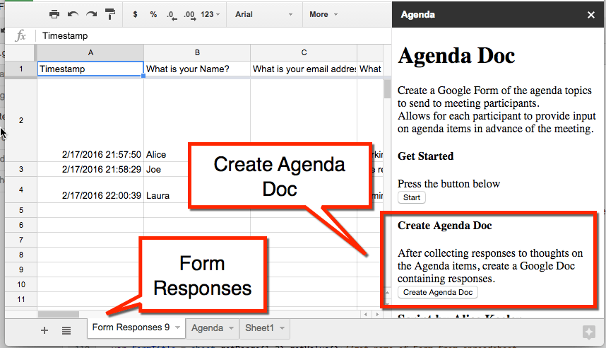 Create Agenda Doc