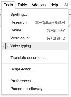 tools menu voice typing