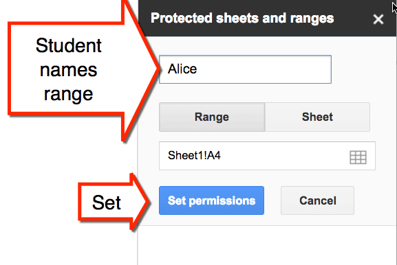 Set and name permissions