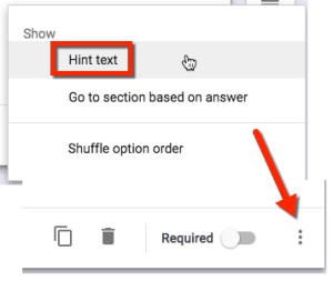 Click on the 3 dots icon in a Google Form to enable hint text