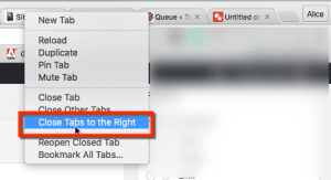Close tabs to the right in Chrome