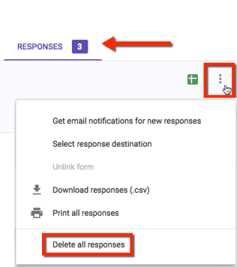 delete all of the responses from the responses tab in a google form