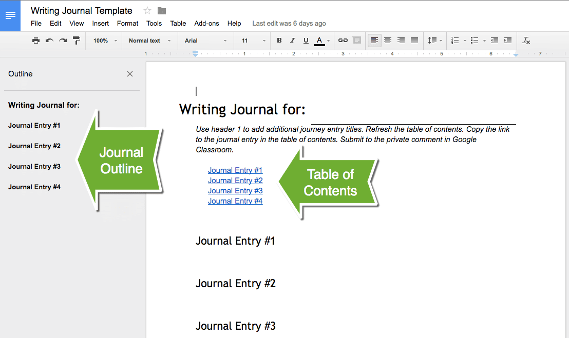 template for journal entries