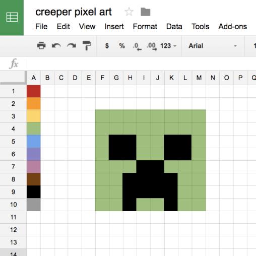 creeper Pixel Art google sheets alice keeler