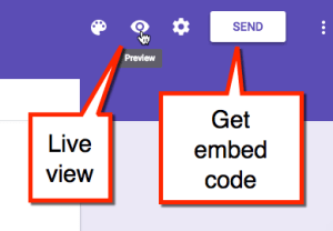 share the google form by clicking on preview mode