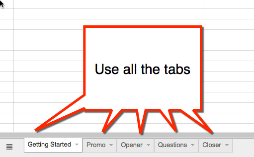 use the tabs in the spreadsheet to organize the chat