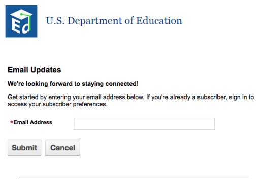 sign up for department of education newsletter