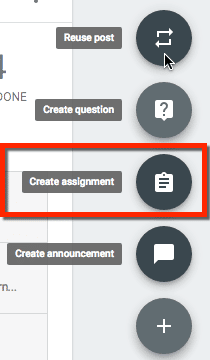 create assignment in google classroom
