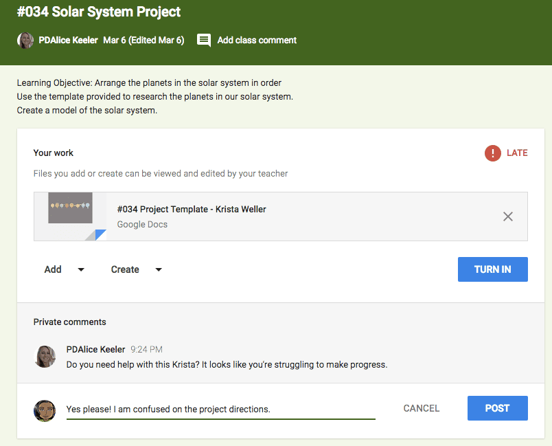 google classroom students leave private comments