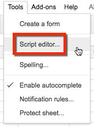 google sheets tools script editor