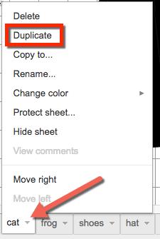 duplicate the spreadsheet tab