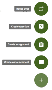 Google Classroom Schedule Assignment click on plus to add a post