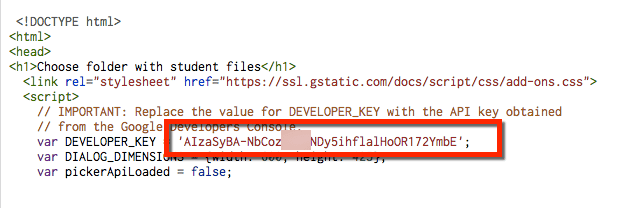 developer key