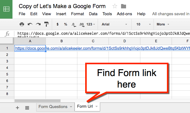 find the URL to the Google Form on the Form URL tab
