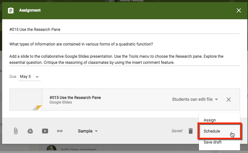 google classroom choose to schedule the post