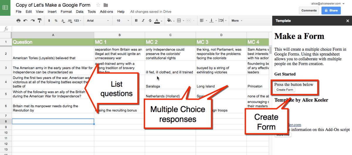 lets make a form add on alice keeler