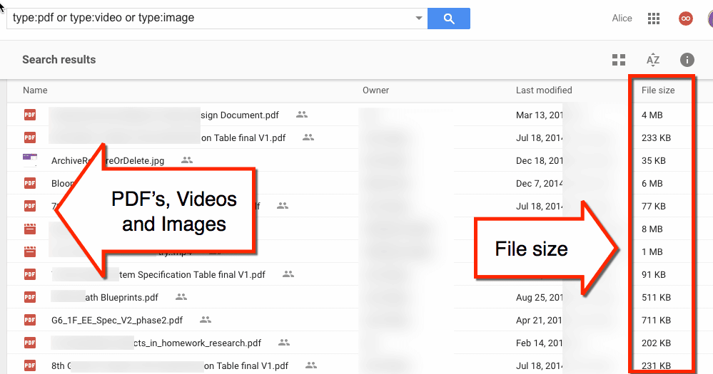 pdf video images have file size in Google Drive