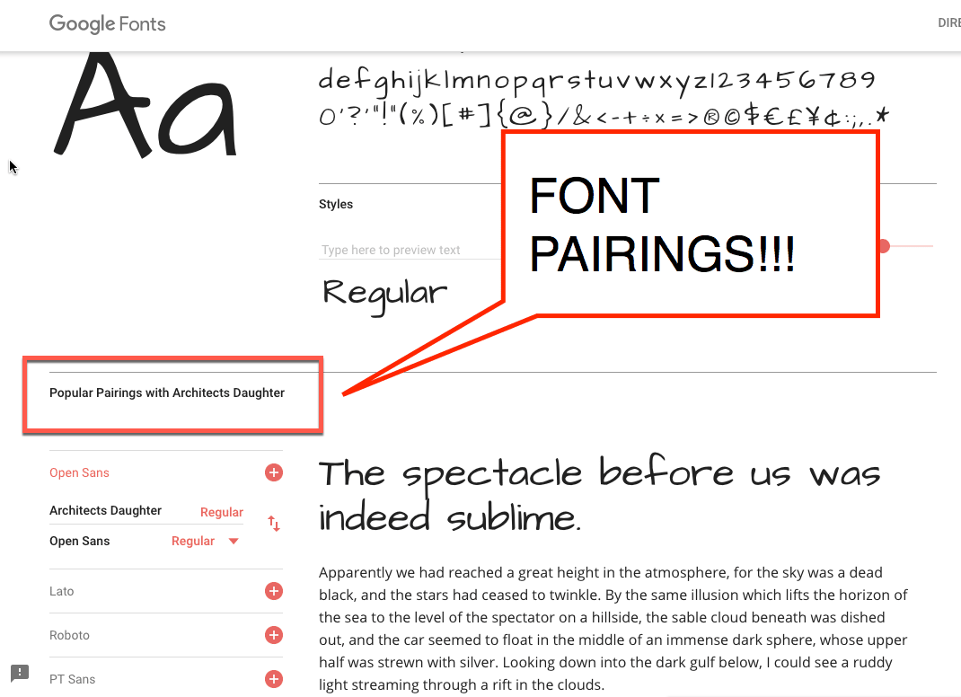 Font Pairings with Google Fonts