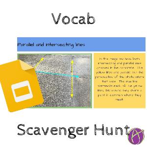Google math vocab scavenger hunt slides