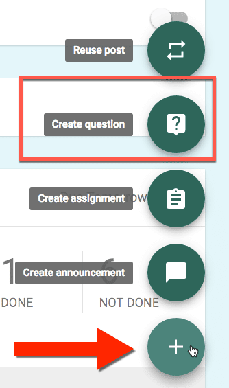 Create a question in Google Classroom