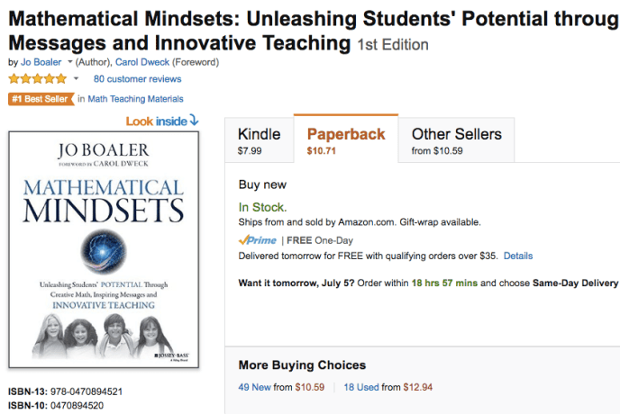 Mathematical Mindsets by Jo Boaler