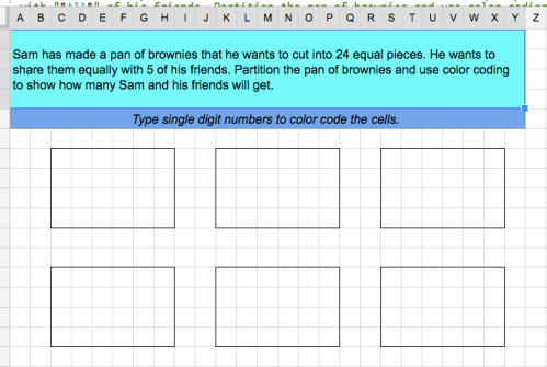 boaler brownies on a spreadsheet